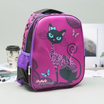 Рюкзак школ Кошечка, 29*15*40, 2 отд на молниях, 2 бок сетки, усилен спинка, черный/фиолет