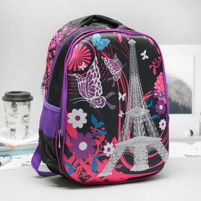 Рюкзак школ Города, 29*15*40, 2 отд на молниях, 2 бок сетки, усилен спинка, черный/розовый