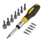 Насадки с держателем Topex, набор 14 шт., Cr-V, реверс, 2х-комп. рукоятка с трещоткой