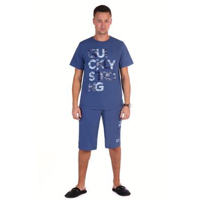 Комплект мужской (футболка, шорты) Джек цвет индиго, р-р 46