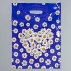 """Пакет """"Ромашки на синем"""", полиэтиленовый с вырубной ручкой, 40 х 31 см, 30 мкм"""