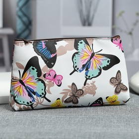 Косметичка простая Бабочки, 18*1,5*10, отд на молнии, белый