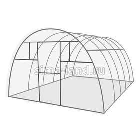 Каркас теплицы 'Комфорт', 6 х 3 х 2.1 м, оцинкованная сталь, профиль 20 х 20 мм, без поликарбоната, 4 форточки, 2 двери Ош