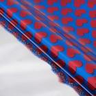 """Пленка голография """"Красные сердца"""", синий, 70 х 100 см"""