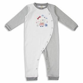 Комбинезон детский с длинным рукавом, рост 80 см, цвет бело-серый кб034(80)с2_М