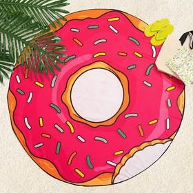"""Полотенце пляжное круглое Этель """"Пончик"""",  размер 150х150 см, цвет розовый УЦЕНКА"""