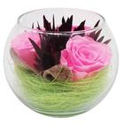 Композиция в вазе, розы ярко-розовые, 9 х 9 х 8 см