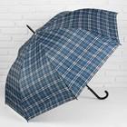 """Зонт полуавтоматический """"Клетка"""", трость, R=58см, цвет серый/синий"""