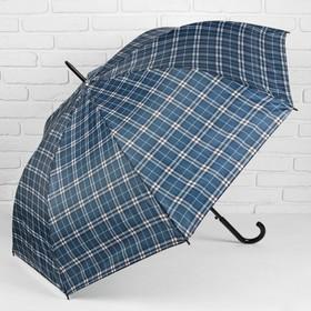 Зонт полуавтоматический 'Клетка', трость, R=58см, цвет серый/синий Ош