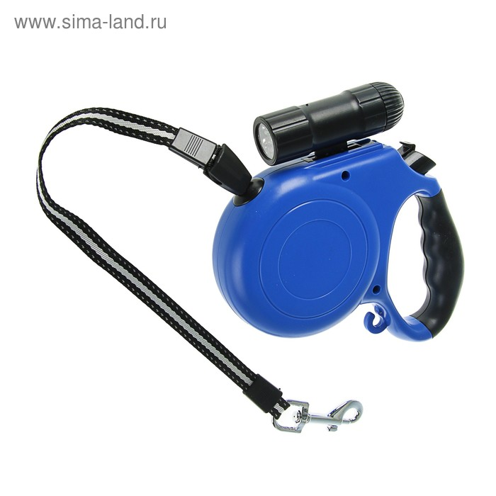 """Рулетка """"Макси"""" с фонариком и прорезиненной ручкой, 5 м, до 40 кг, синяя"""