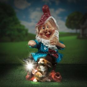 """Садовая фигура """"Гном большой с зайцем и фонариком"""", 59 см"""