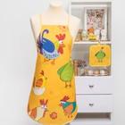 """Кухонный набор """"Петушки"""" (фартук,прихватка) рис 6-17 ,печать , поролон, 100% пэ, 200 г/м2"""