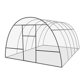 Каркас теплицы 'Базовая', 6 х 3 х 2.1 м, оцинкованная сталь, профиль 20 х 20 мм, без поликарбоната, 2 форточки, 2 двери Ош