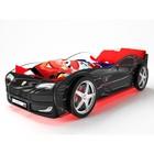 Кровать-машина «Турбо Черная» с подсветкой дна и фар + пластиковые колёса (2 шт)