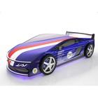 Кровать-машина «Ламба Синяя» + матрас,  с подсветкой дна и фар + пласт. колёса (2 шт)