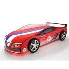 Кровать-машина «Ламба Красная» + матрас, с подсветкой дна и фар + пласт. колёса (2 шт)