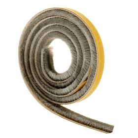 Уплотнитель щеточный самоклеящийся TUNDRA krep, 3P, 7х6 мм, серый, в упаковке 20 м Ош