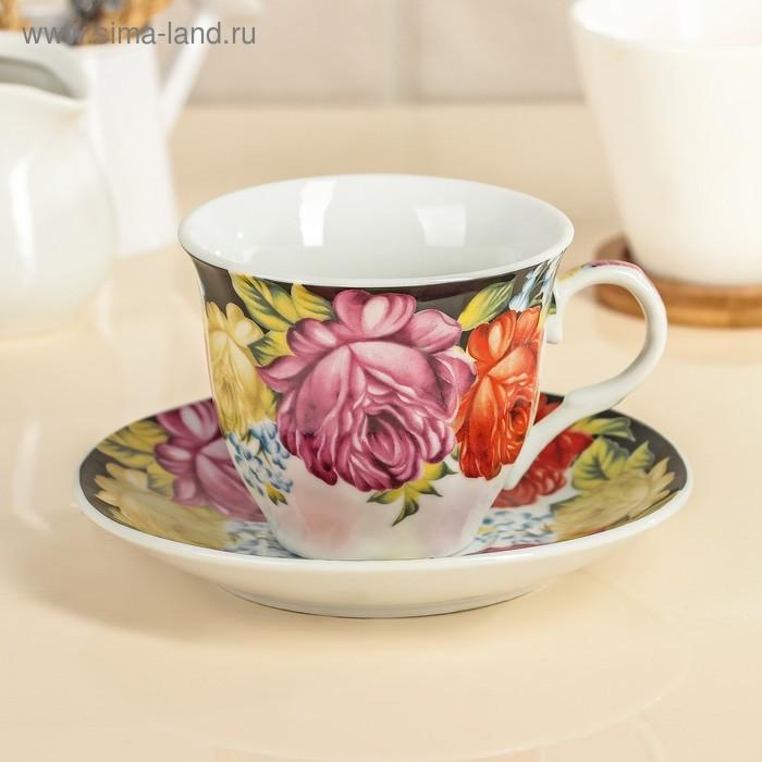 """Чайная пара """"Роспись"""": чашка 210 мл, блюдце"""