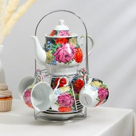 """Сервиз чайный 13 предмета """"Роспись"""": чайник 1 л, чашка 210 мл, блюдце"""