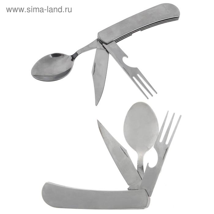 Нож складной туристический 4в1, металлик