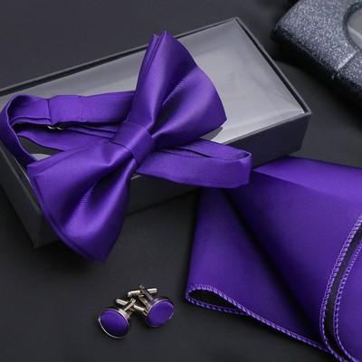 """Набор джентльмена """"Запонки/платок/бабочка"""" цвет фиолетовый"""