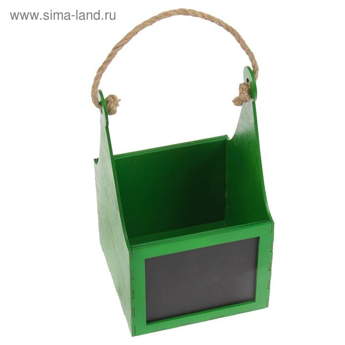 Кашпо «Корзинка», с грифельной доской, тёмно-зелёная, 12,6х12,6х21,8 см