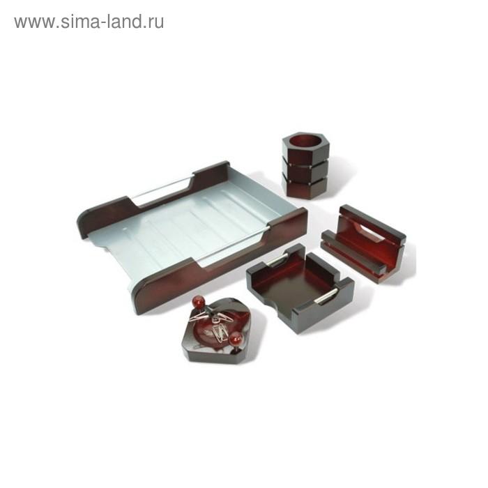 """Набор настольный GALANT """"Wood&Metal"""" красное дерево+ник.металл, 5 предметов 230873"""