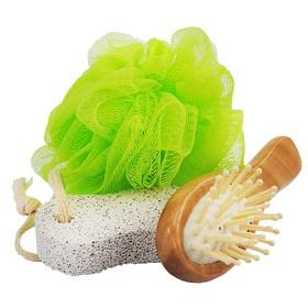 Банный набор Beauty Format, мочалка, щетка для волос, пемза натуральная (45849-4377) Ош