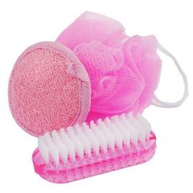Банный набор Beauty Format, мочалка, щетка для рук и ногтей, спонж для чистки (45850-4378) Ош