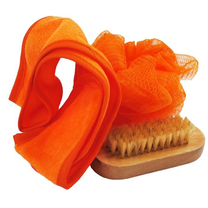 Банный набор Beauty Format, мочалка, щетка для рук и ногтей, повязка на голову (45851-4379)