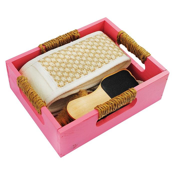 Банный набор Beauty Format, мочалка пояс, щетка для рук, пемза, терка для ног (45852-4380)