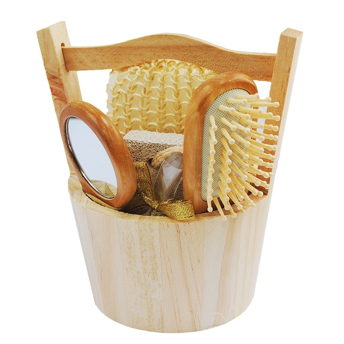 Банный набор Beauty Format, мочалка, щетка для волос, пемза, зеркало (45853-4381)