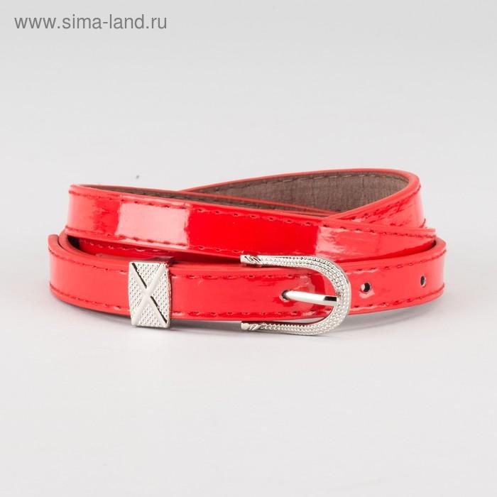"""Ремень женский """"Амелия"""", пряжка и хомут под металл, 2 строчки, цвет красный"""