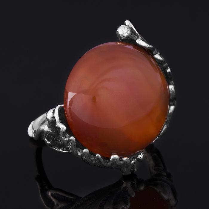 """Кольцо бижар """"Осень"""", размер 18,5, сердолик в чернёном серебре"""