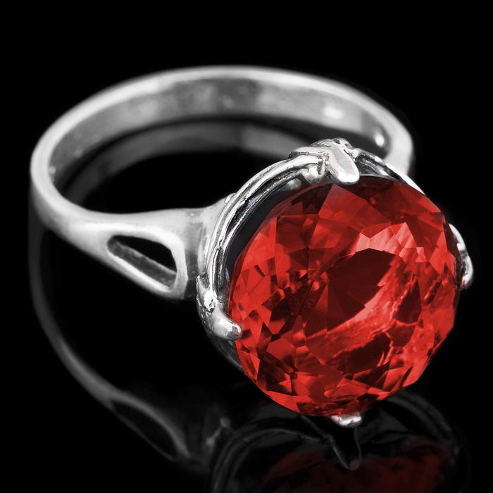 """Кольцо бижар """"Сицилия-2"""", размер 19, цвет красный в серебре"""
