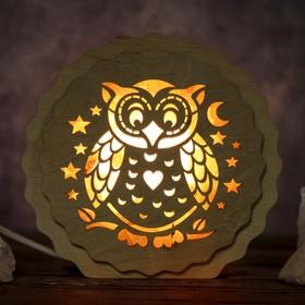 Соляной светильник 'Сова', 16 x 15 х 6 см, деревянный декор Ош