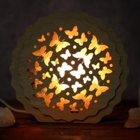 Соляной светильник 'Бабочки', 16 x 15 х 6 см, деревянный декор Ош