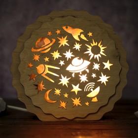 Соляной светильник 'Космос', 16 x 15 х 6 см, деревянный декор Ош