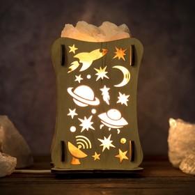 Соляной светильник 'Космос', 9 х 16 см, деревянный декор Ош