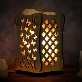 Соляной светильник 'Бабочки', 9 х 14 см, деревянный декор Ош