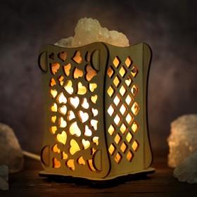 Соляной светильник 'Сердца', 9 х 14 см, деревянный декор Ош