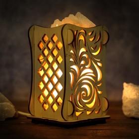 Соляной светильник 'Листья', 9 х 14 см, деревянный декор Ош