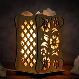 Соляной светильник 'Цветы', 9 х 14 см, деревянный декор Ош