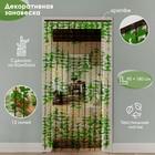 Занавеска декор Листики зеленые зигзаг 90 x 180 см (12 нитей)