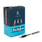 Ручка шариковая авт 0,7мм корпус прозрачный стержень черный с резиновым держателем