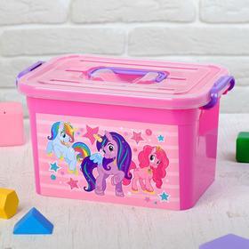 """Ящик для игрушек 80901 """"Волшебные Пони"""" с крышкой и ручками, 6,5 л"""