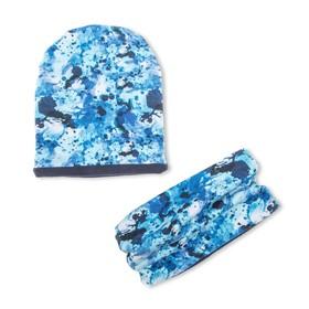 Комплект снуд + шапка, размер 40-45 см, цвет синий КУД-91/4