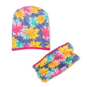 Комплект снуд + шапка для девочки, размер 40-45 см, цвет розовый, принт листья КУД-91/1