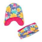 Комплект снуд + шапка для девочки, размер 40-45 см, цвет розовый, принт листья КУД-98/1