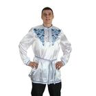 """Рубаха русская мужская """"Гжель. Цветы"""", атлас, р-р 48-50, цвет белый"""